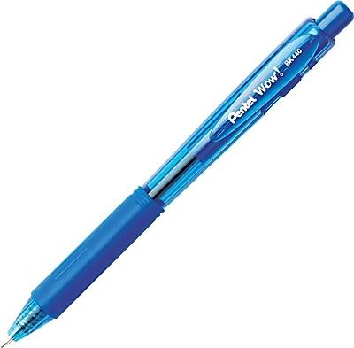 Pentel WOW Retractable Ballpoint Pen, 1.0 mm, Medium Point, Blue, Dozen