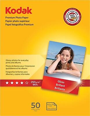 Kodak Premium Glossy Photo Paper, White, 8 1/2