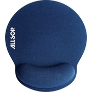 "Allsop® MousePad Pro™ Memory Foam Mouse Pad With Wrist Rest, Blue, 8 1/4""(D)"