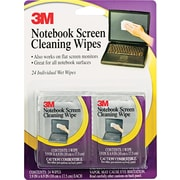 """3M Notebook Screen Cleaning Wipe, Unscented, White, 4""""(W) x 7""""(L), 24 / Pack"""