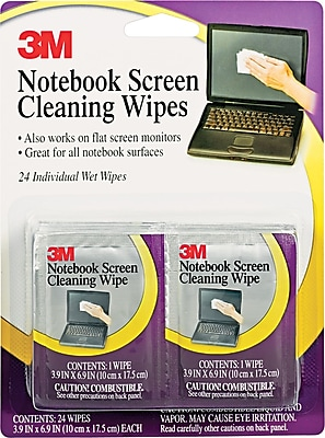 3M Notebook Screen Cleaning Wipe, Unscented, White, 4