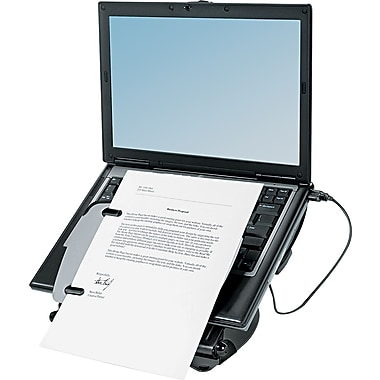 Fellowes® Professional Series Laptop Riser With USB Hub, Black/Gray, 3