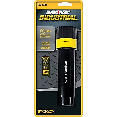 Rayovac ® Industrial Flashlight With Twist On-Off Switch, Black, LED, 2 D Alkaline