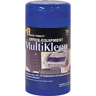 Read Right Office Equipment MultiKleen Wipe, Unscented, 3 1/4