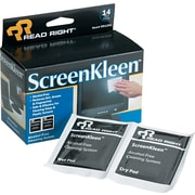 "Read Right® Alcohol-Free ScreenKleen™ Wipe, Unscented, 5""(W) x 5""(L), 14 Twin Packs/Box"