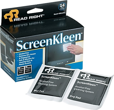 Read Right® Alcohol-Free ScreenKleen™ Wipe, Unscented, 5