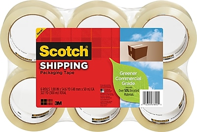 Scotch Greener Commercial Grade Shipping Packaging Tape, 1.88u0022 x 54.60 yds, Clear, 6 / Pack (Quantity)