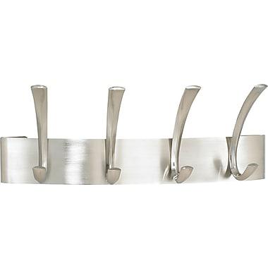 Safco® 4-Hook Metal Coat Rack, Brushed Nickel