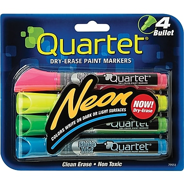 Quartet® Dry-Erase Paint Markers, Bullet Tip, Assorted Ink, 4/Pack