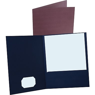 Oxford® Linen-Style Twin-Pocket Portfolio, Dark Blue, 5/Pack