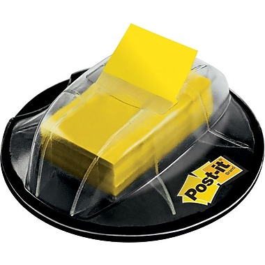 Post-it® Flags with Desk Grip Dispenser, Yellow, 1