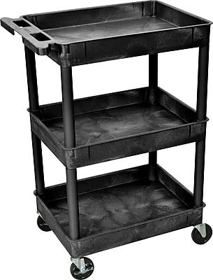 Luxor Heavy-Duty 3-Shelf Utility Cart, Black, 39.25