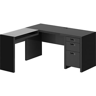 kathy ireland® Office by Bush Furniture 60W L Shaped Desk with Glass Return, Modern Mocha (KI10101-03K)