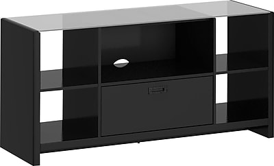 kathy ireland® Office by Bush Furniture Credenza/TV Stand with Glass Top, Modern Mocha (KI10104-03K)