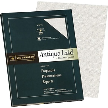 Southworth® - Papier d'affaires vergé texture antique 25 % coton, 24 lb, 8 1/2 po x 11 po, blanc, paq./100