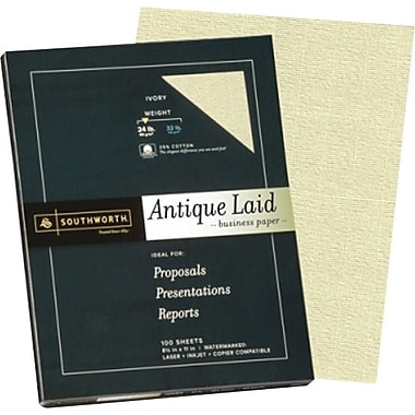 Southworth® - Papier d'affaires vergé texture antique 25 % coton, 24 lb, 8 1/2 po x 11 po, ivoire, paq./100