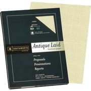 "Southworth® 25% Cotton Antique Laid Business Paper, 24 lb, 8 1/2"" x 11"", Ivory, 100/Pack"