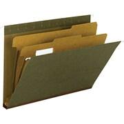 """Hanging File Folder, 2 Dividers, Letter, , 2"""" Exp, 1/5 Tab, Standard Green, 10/Bx"""