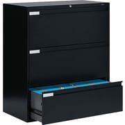 Global 9100 Plus Series Lateral File Cabinet, 3-Drawer, Black