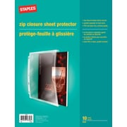 Staples Side-Load Three-Ring Mediumweight PVC-Free Zip Closure Sheet Protectors, Clear, 10/Pack (23259)
