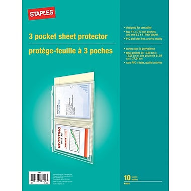 Staples 3-Pocket Sheet Protectors, Clear