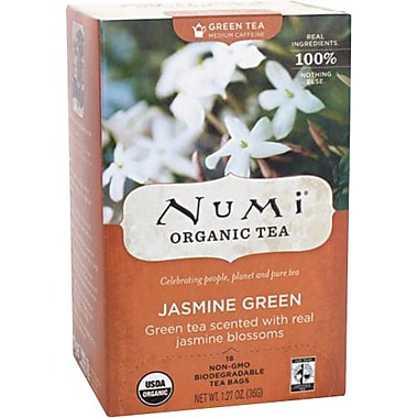 Numi® Jasmine Green Organic Green Tea, Medium Caffeine, 18 Tea Bags/Box
