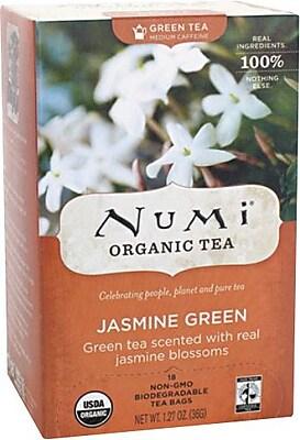Numi® Jasmine Green Organic Green Tea, Medium Caffeine, 18 Tea Bags/Box