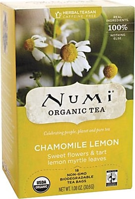 Numi® Chamomile Lemon Organic Herbal Teasan, Caffeine Free, 18 Bags/Box