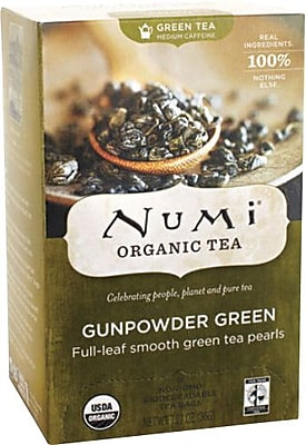 Numi® Gunpowder Green Organic Green Tea, Medium Caffeine, 18 Bags/Box
