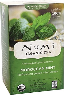 Numi® Moroccan Mint Organic Herbal Teasan, Caffeine Free, 18 Bags/Box