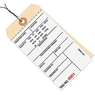 Staples Pre-Wired 2 Part Carbonless #8 Inventory Tags, 6 1/4