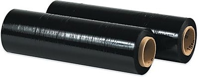 "15"" x 80 Gauge x 1500' Staples Black Blown Hand Stretch Film, 4/Case"