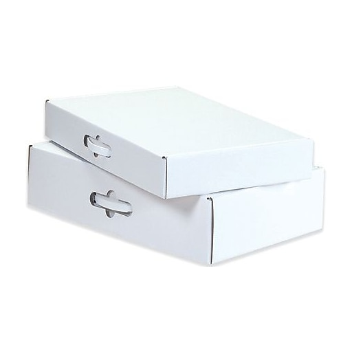 """Partners Brand Corrugated Carrying Cases, 12 1/8"""" x 9 1/4"""" x 3"""", White, 10/Bundle (MCC1)"""
