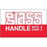 "Labels, ""Glass - Handle With Care"", 3"" x 5"", Red/White, 500/Roll"