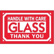 "Labels, ""Glass - Handle With Care"", 3"" x 5"", Red/White, 500/Roll (DL1230)"