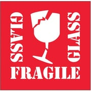 "Labels, ""Fragile - Glass"", 4"" x 4"", Red/White, 500/Roll"