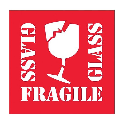 labels fragile glass 4 x 4 red white 500 roll staples