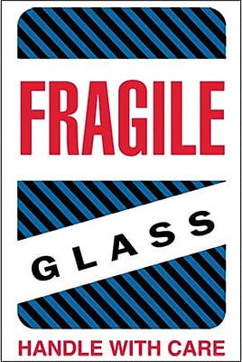 Tape Logic Fragile - Glass - Handle With Care Shipping Label, 4