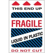 "Tape Logic® Labels, ""Fragile - Liquid in Plastic"", 4"" x 6"", Multiple, 500/Roll"