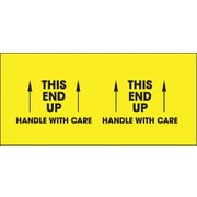 "Tape Logic® Labels, ""This End Up - Handle With Care"", 3"" x 10"", Fluorescent Yellow, 500/Roll"