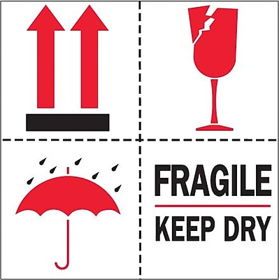 The Packaging Wholesalers Fragile Keep Dry Shipping Label, 4
