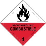 """Spontaneously Combustible - 4"""" Shipping Label, 4"""" x 4"""", 500/Roll"""