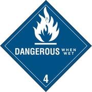 "Dangerous When Wet - 4"" Shipping Label, 4"" x 4"", 500/Roll"
