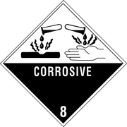 """Corrosive - 8"""" Shipping Label, 4"""" x 4"""", 500/Roll"""