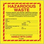 "Tape Logic Hazardous Waste - New Jersey Shipping Label, 6"" x 6"", 500/Roll"