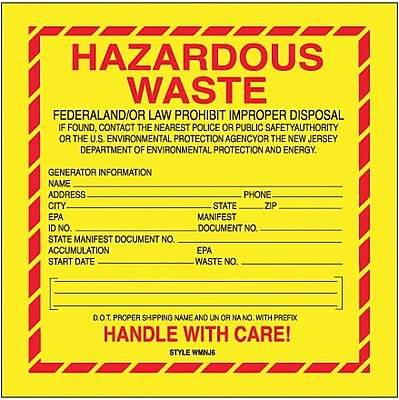 Tape Logic Hazardous Waste - New Jersey Shipping Label, 6