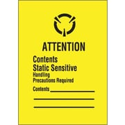 "Tape Logic® Labels, ""Contents Static Sensitive"", 1 3/4"" x 2 1/2"", Black/Yellow, 500/Roll"