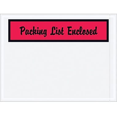 Staples Packing List Envelopes, Red Panel Face,