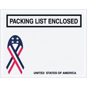 "Staples Packing List Envelope, 7"" x 5 1/2"" - U.S.A. Ribbon Panel Face, ""Packing List Enclosed"", 1000/Case"