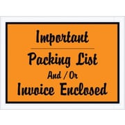 "Packing List Envelope, 4 1/2"" x 6"" - Orange Full Face, ""Important Packing list and/or Invoice Enclosed, 1000/Case"